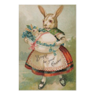 Easter Bunny Basket Baby Forget Me Not Poster