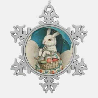Easter Bunny Basket Colored Egg Umbrella Pewter Snowflake Decoration