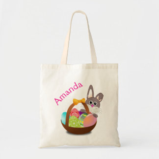Easter Bunny Basket Name Egg Hunt Bag Tote