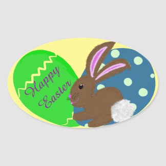 Easter Bunny Blue Green Easter Eggs Oval Sticker