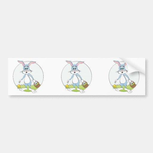 Easter Bunny Blue Rabbit Cartoon Bumper Stickers