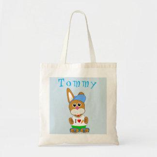 Easter Bunny Boy Name Egg Hunt Bag Tote