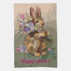 easter bunny brings eggs tea towel