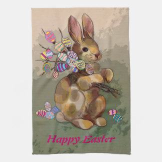 easter bunny brings eggs tea towels