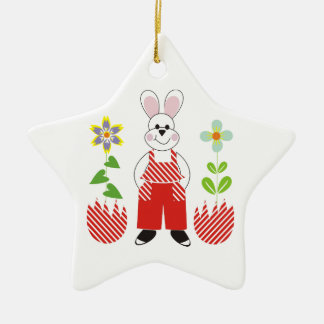 Easter bunny broken eggs flowers custom ornamenent ceramic star decoration