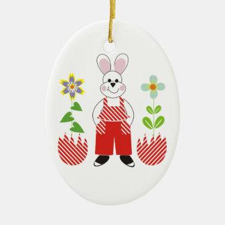 Easter bunny broken eggs flowers custom ornamenent ceramic oval decoration