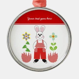 Easter bunny broken eggs flowers custom ornament