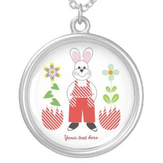 Easter bunny  broken eggs flowers silver pendant