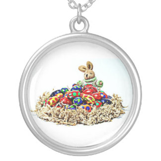 Easter Bunny Candy Nest Round Pendant Necklace