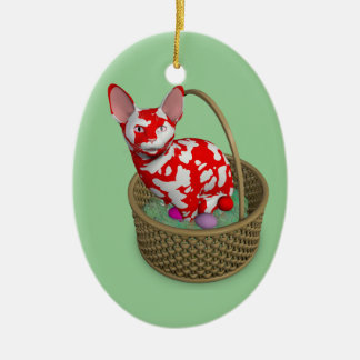 Easter Bunny Cat Ceramic Oval Decoration
