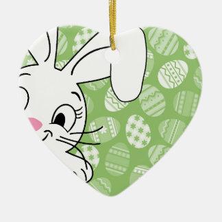 Easter bunny ceramic heart decoration