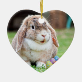 Easter Bunny Ceramic Heart Decoration
