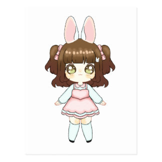 Easter Bunny Chibi Girl Postcard