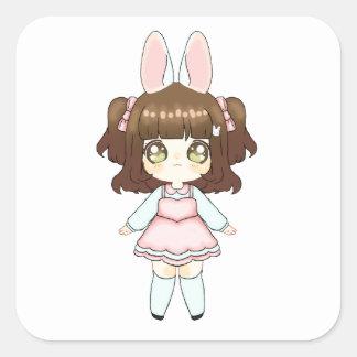 Easter Bunny Chibi Girl Square Sticker