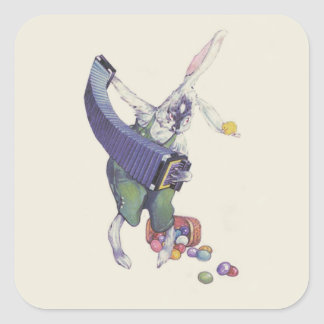 Easter Bunny Chick Basket Colored Eggs Square Sticker