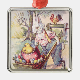 Easter Bunny Chick Colored Egg Silver-Colored Square Decoration