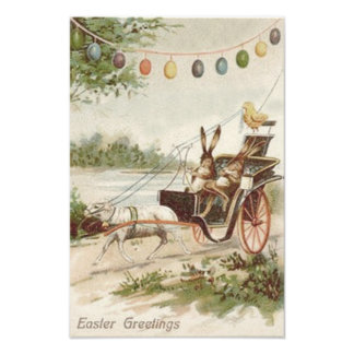 Easter Bunny Chick Egg Lamb Carriage Art Photo