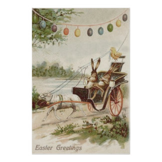 Easter Bunny Chick Egg Lamb Carriage Poster