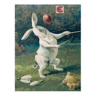 Easter Bunny Chick Playing Lily Postcard