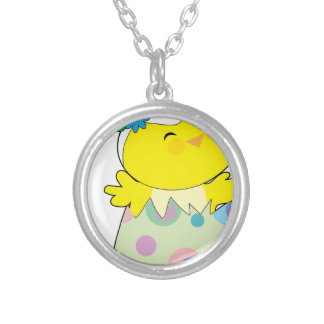 Easter Bunny Chick Round Pendant Necklace