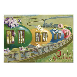 Easter Bunny Colored Egg Cage Train Photo