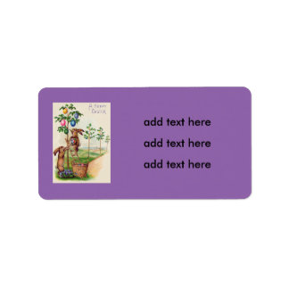 Easter Bunny Colored Egg Tree Address Label
