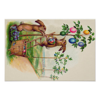 Easter Bunny Colored Egg Tree Poster