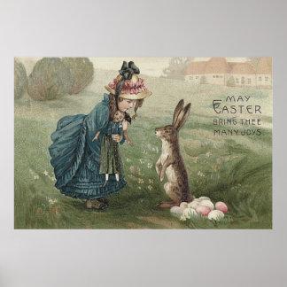 """easter bunny"" ""colored eggs"" girl doll landsc poster"