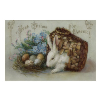 Easter Bunny Colored Painted Egg Basket Forget Me Poster