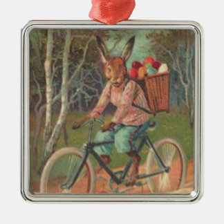 Easter Bunny Colored Painted Egg Bicycle Forest Silver-Colored Square Decoration