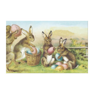 Easter Bunny Colored Painted Egg Field Canvas Print