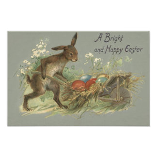 Easter Bunny Colored Painted Egg Lily Wheelbarrow Photo