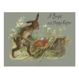 Easter Bunny Colored Painted Egg Lily Wheelbarrow Postcard