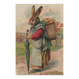 Easter Bunny Colored Painted Egg Umbrella Poster
