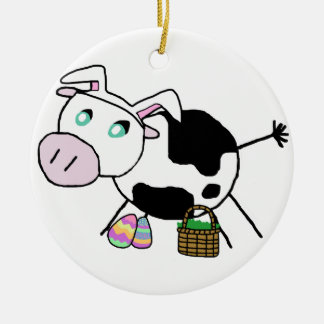 Easter Bunny Cow Round Ceramic Decoration