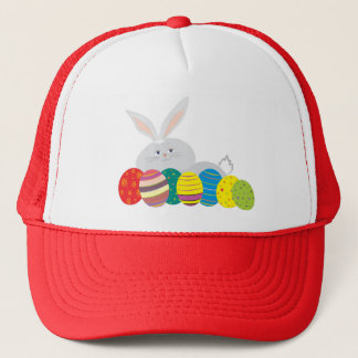 Easter Bunny Cute White Cartoon Colorful Eggs Trucker Hat