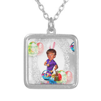 easter bunny donald trump silver plated necklace
