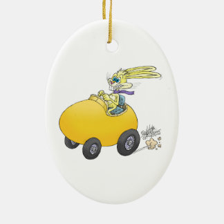 Easter bunny driving an Easter egg!.jpg Ceramic Oval Decoration