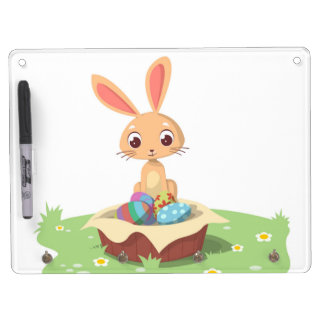 EASTER BUNNY DRY ERASE BOARD WITH KEY RING HOLDER