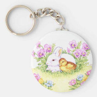 Easter Bunny, Duckling and Flowers Basic Round Button Key Ring
