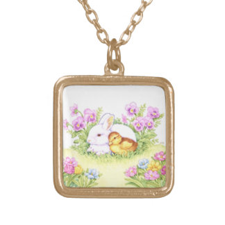 Easter Bunny, Duckling and Flowers Gold Plated Necklace