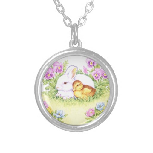 Easter Bunny, Duckling and Flowers Custom Jewelry