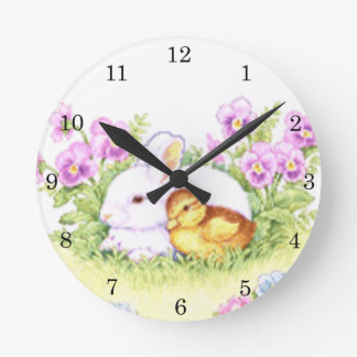 Easter Bunny, Duckling and Flowers Round Clock