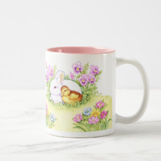 Easter Bunny, Duckling and Flowers Two-Tone Coffee Mug