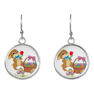 Easter Bunny Earrings Silver Tone
