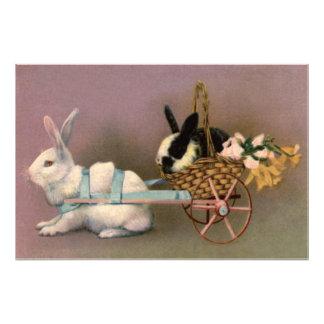 Easter Bunny Easter Basket Flowers Floral Cart Art Photo