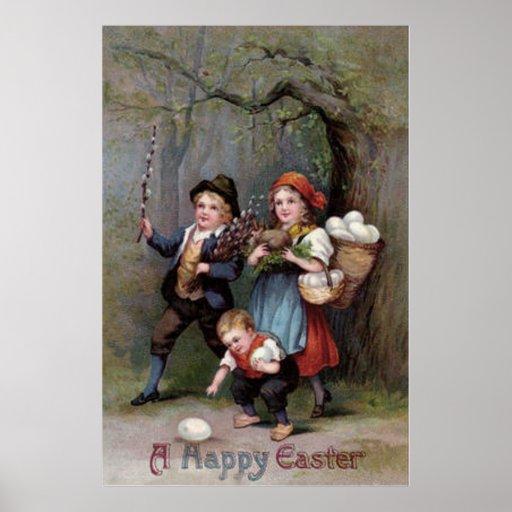Easter Bunny Easter Egg Hunt Forest Poster
