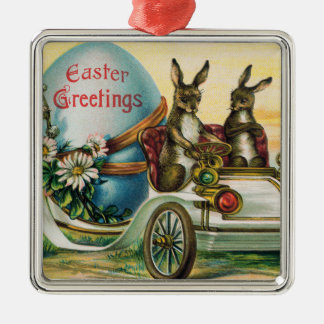 Easter Bunny Egg Car Daisy Silver-Colored Square Decoration