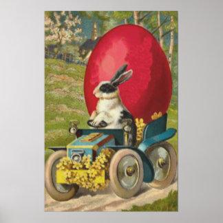 Easter Bunny Egg Car Landscape Poster