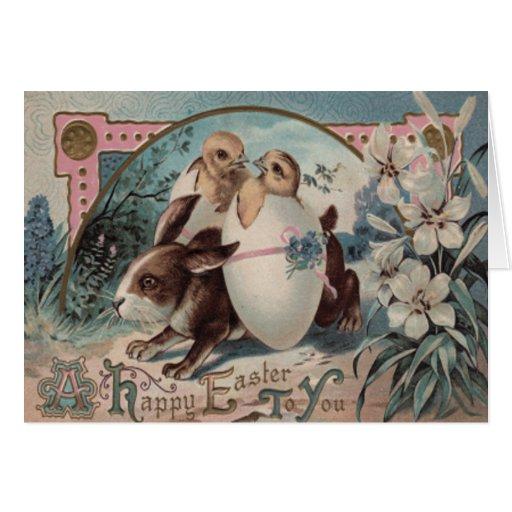 Easter Bunny Egg Chick Flower Card